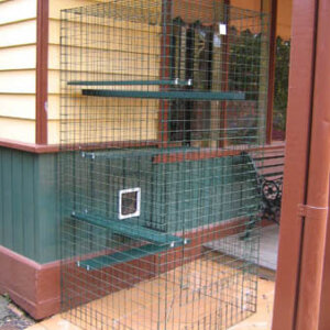 PC Tower on Paving - Catnip Australia Cat Enclosures